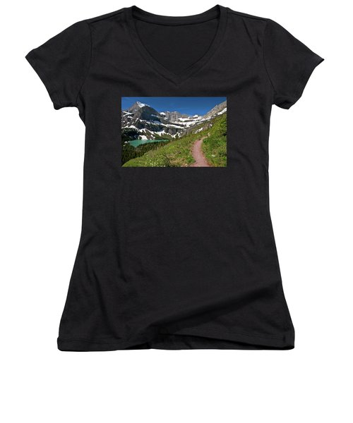 Women's V-Neck T-Shirt featuring the photograph Glacier Backcountry Trail by Gary Lengyel