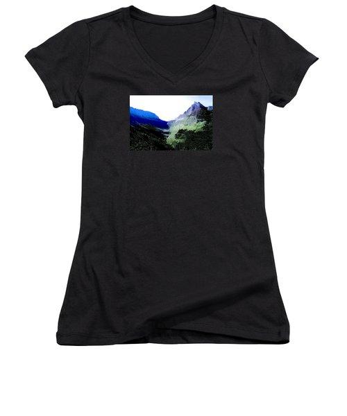 Women's V-Neck T-Shirt (Junior Cut) featuring the photograph Glacier Park Simplified by Susan Crossman Buscho