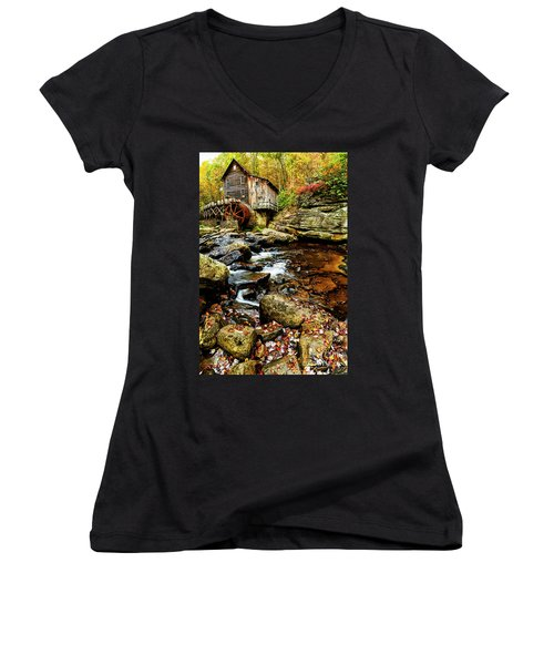 Glade Creek Grist Mill Fall  Women's V-Neck