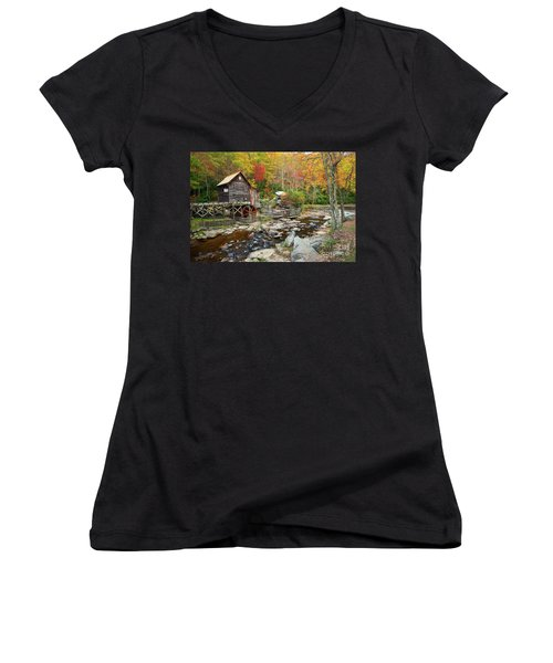 Glade Creek Grist Mill In Autumn Women's V-Neck (Athletic Fit)