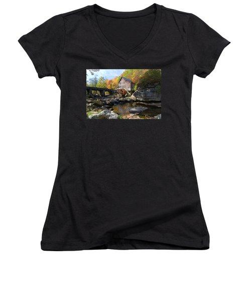 Women's V-Neck T-Shirt (Junior Cut) featuring the photograph Glade Creek Grist Mill by Steve Stuller