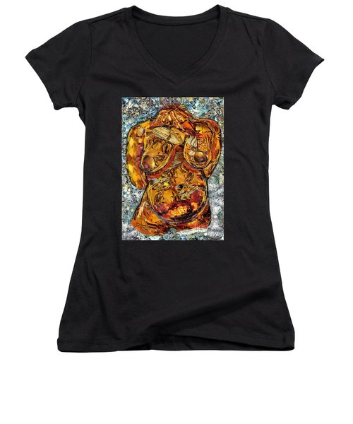 Glass Lady Women's V-Neck T-Shirt (Junior Cut) by Sarah Loft