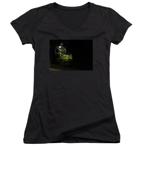 Women's V-Neck T-Shirt (Junior Cut) featuring the photograph Glass Shard by Susan Capuano