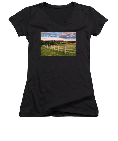 Women's V-Neck featuring the photograph Glendale Road View Of Mount Tom by Sven Kielhorn