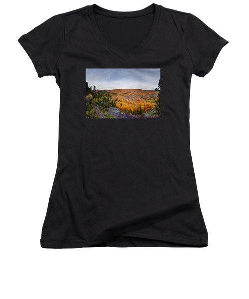 Glorious Autumn Lutsen Mountain Resort North Shore Minnesota Women's V-Neck