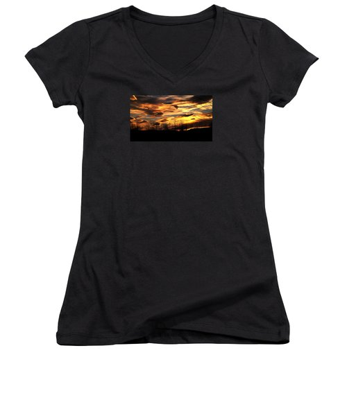 Glorious Maine Sunset Women's V-Neck T-Shirt (Junior Cut) by Mike Breau