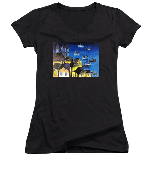 Women's V-Neck T-Shirt (Junior Cut) featuring the painting Glouchester Harbor by Mikhail Zarovny