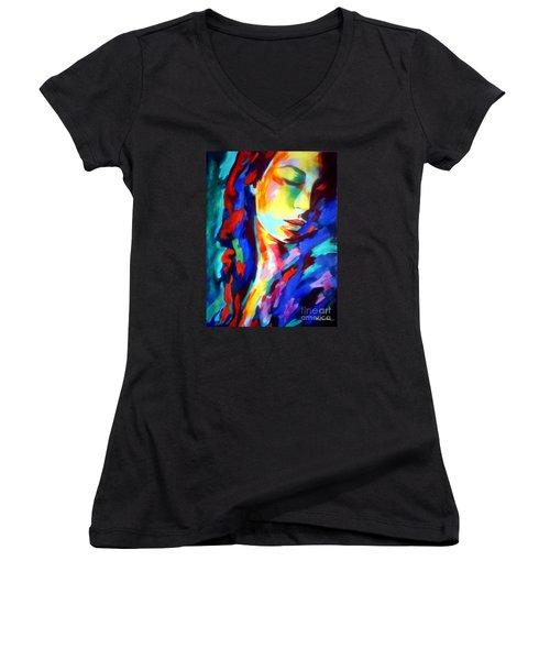 Glow In Shadows Women's V-Neck T-Shirt (Junior Cut) by Helena Wierzbicki
