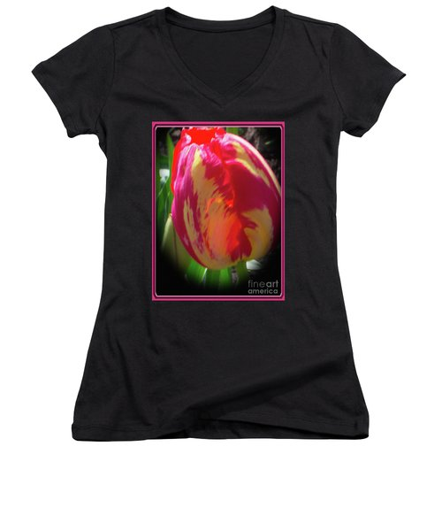 Glowing Tulip Women's V-Neck T-Shirt (Junior Cut) by Ansel Price
