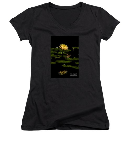Glowing Waterlily Women's V-Neck T-Shirt (Junior Cut) by Barbara Bowen