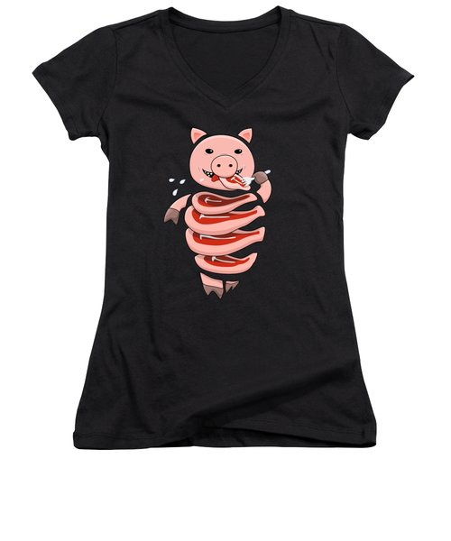 Gluttonous Self-eating Pig Women's V-Neck T-Shirt