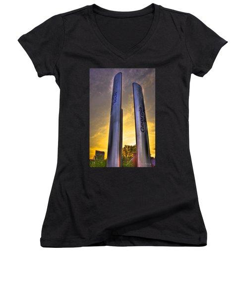 Go Tech Georgia Tech Sunset Art Women's V-Neck T-Shirt (Junior Cut) by Reid Callaway