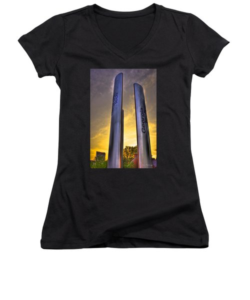 Go Tech Georgia Tech Sunset Art Women's V-Neck T-Shirt