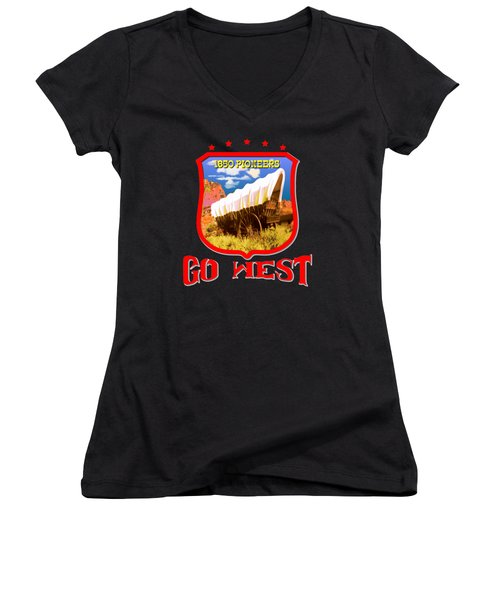 Go West Pioneer - Tshirt Design Women's V-Neck T-Shirt (Junior Cut) by Art America Gallery Peter Potter