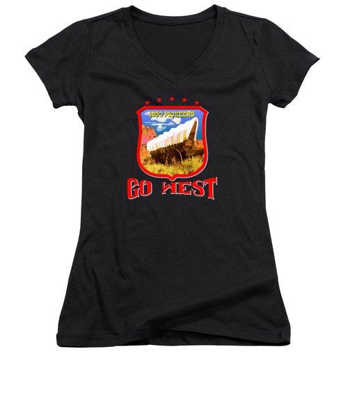 Go West Pioneer - Tshirt Design Women's V-Neck