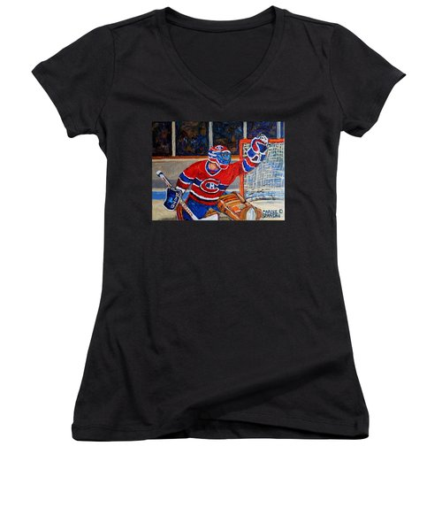 Goalie Makes The Save Stanley Cup Playoffs Women's V-Neck (Athletic Fit)