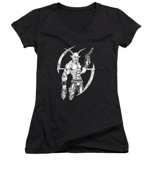 Goatlord Reaper Women's V-Neck T-Shirt (Junior Cut) by Alaric Barca