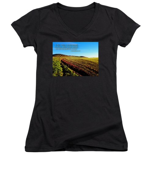 Women's V-Neck T-Shirt (Junior Cut) featuring the photograph God Gives The Increase by Glenn McCarthy