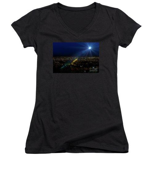 God Loves Cuenca Women's V-Neck T-Shirt (Junior Cut) by Al Bourassa