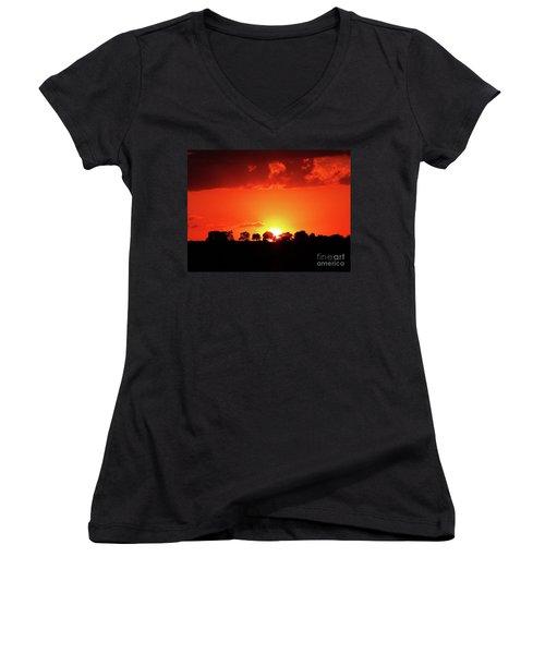 God's Gracful Sunset Women's V-Neck T-Shirt