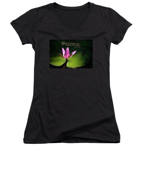 God's Spirit Women's V-Neck (Athletic Fit)