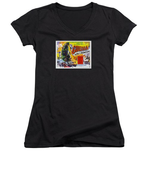 Godzilla King Of The Monsters An Enraged Monster Wipes Out An Entire City Vintage Movie Poster Women's V-Neck (Athletic Fit)