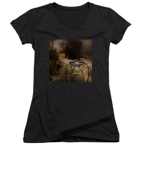 Going Home Women's V-Neck T-Shirt (Junior Cut) by Jeff Burgess