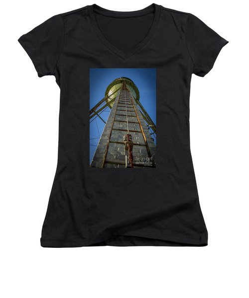 Women's V-Neck T-Shirt (Junior Cut) featuring the photograph Going Up Mary Leila Cotton Mill Water Tower Art by Reid Callaway