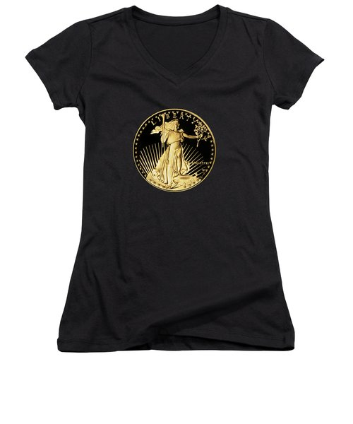 Gold Coin Front Women's V-Neck T-Shirt (Junior Cut) by Phyllis Denton