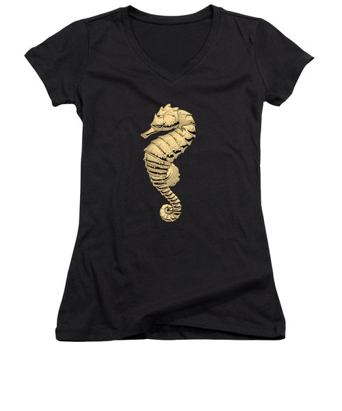 Gold Seahorse On Black Canvas Women's V-Neck T-Shirt (Junior Cut) by Serge Averbukh