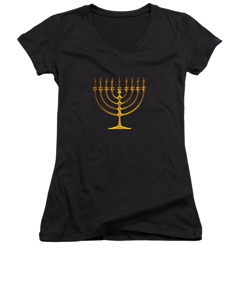 Golden 3-d Look Menorah  Women's V-Neck T-Shirt (Junior Cut) by Rose Santuci-Sofranko