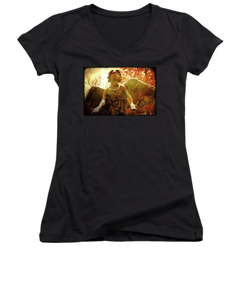 Women's V-Neck T-Shirt (Junior Cut) featuring the photograph Golden Angel Of Hope by Jean Haynes