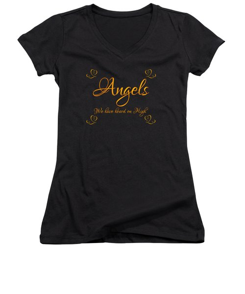 Golden Angels We Have Heard On High With Hearts Women's V-Neck