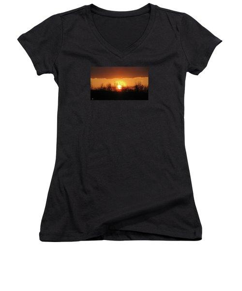Women's V-Neck T-Shirt (Junior Cut) featuring the photograph Golden Arch Sunset by Debra     Vatalaro
