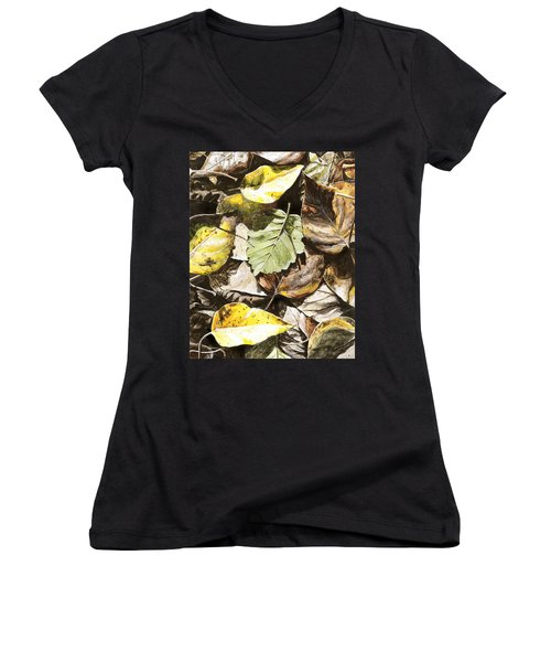 Women's V-Neck T-Shirt (Junior Cut) featuring the painting Golden Autumn - Talkeetna Leaves by Karen Whitworth