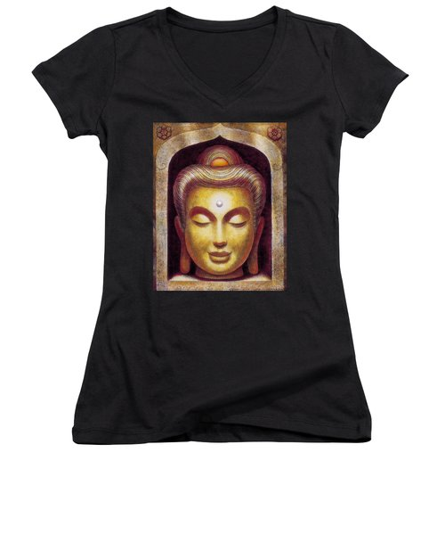 Women's V-Neck T-Shirt (Junior Cut) featuring the painting Golden Buddha by Sue Halstenberg