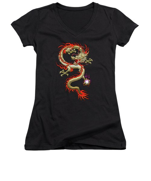 Golden Chinese Dragon Fucanglong On Black Silk Women's V-Neck T-Shirt (Junior Cut) by Serge Averbukh