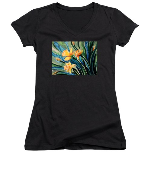 Golden Daffodils Women's V-Neck (Athletic Fit)