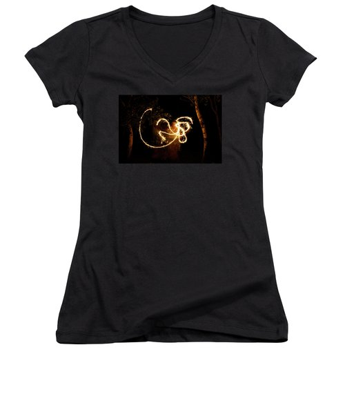 Golden Dragon Women's V-Neck T-Shirt (Junior Cut) by Ellery Russell