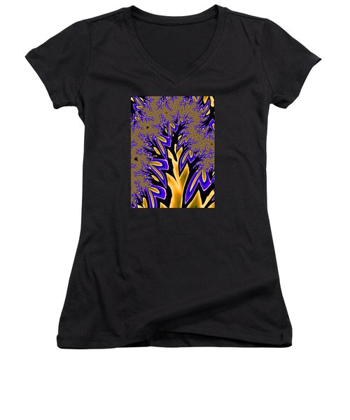 Women's V-Neck T-Shirt (Junior Cut) featuring the photograph Golden Fractal Tree by Ronda Broatch