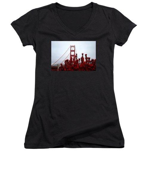 Golden Gate Bridge Red Flowers Women's V-Neck T-Shirt (Junior Cut) by Matt Harang