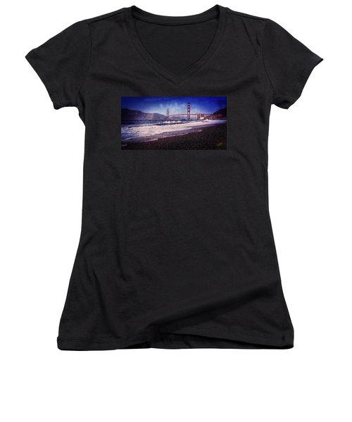 Golden Gate Women's V-Neck T-Shirt (Junior Cut) by Everet Regal