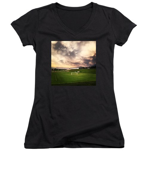 Women's V-Neck T-Shirt (Junior Cut) featuring the photograph Golden Goal by Christin Brodie