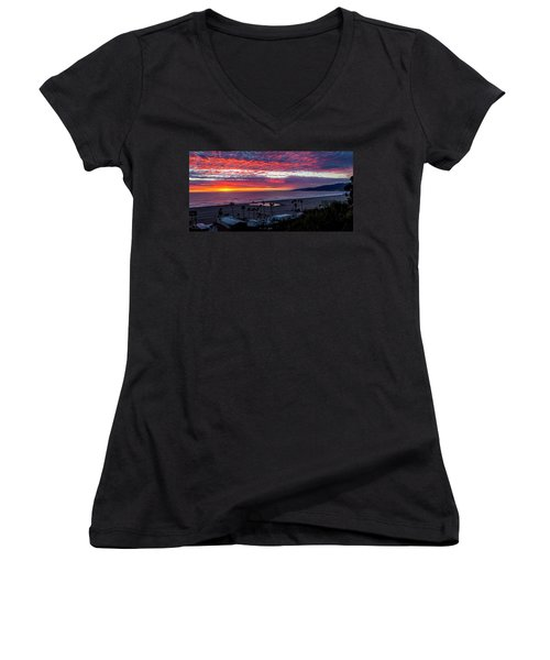 Golden Horizon At Sunset -  Panorama Women's V-Neck (Athletic Fit)
