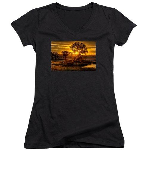 Golden Hour Women's V-Neck T-Shirt (Junior Cut) by Fiskr Larsen