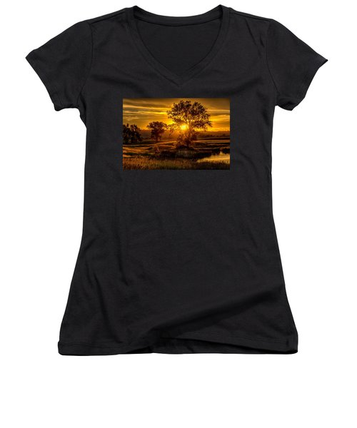 Women's V-Neck featuring the photograph Golden Hour by Fiskr Larsen