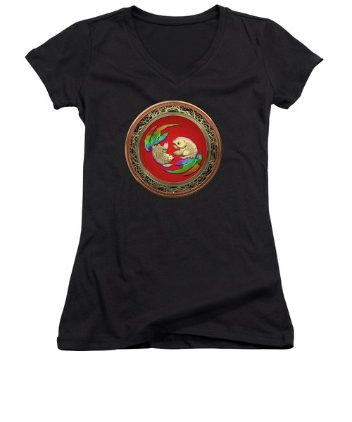 Golden Japanese Koi Goldfish Over Black Velvet Women's V-Neck T-Shirt