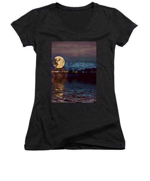 Golden Moon Women's V-Neck T-Shirt (Junior Cut) by Elaine Hunter