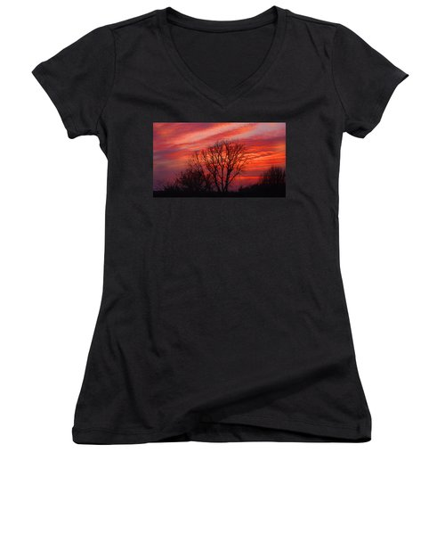 Women's V-Neck featuring the digital art Golden Pink Sunset With Trees by Shelli Fitzpatrick