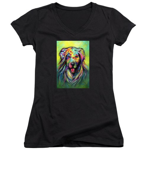 Golden Retriever Women's V-Neck T-Shirt